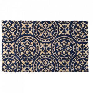 Pres dreptunghiular albastru inchis din fibre de cocos pentru intrare 45x75 cm Grafik Lako
