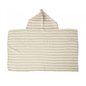 Prosop cu gluga gri din bumbac 89x93 cm Stripes Quax