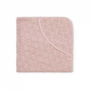 Prosop cu gluga roz din bumbac 80x80 cm Alana Cam Cam