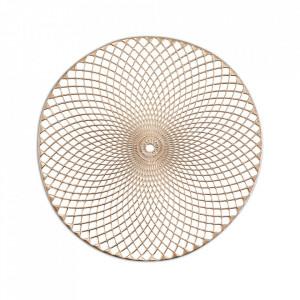 Protectie masa rotunda aurie din PVC 38 cm Mandala Zeller
