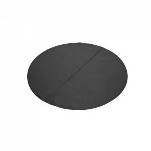 Protectie masa rotunda neagra din piele 70 cm Bistro Serax