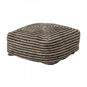 Puf patrat maro/negru din iuta 45x45 cm Nao Bloomingville