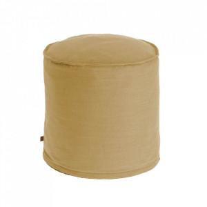 Puf rotund galben din textil 42 cm Maelina Kave Home