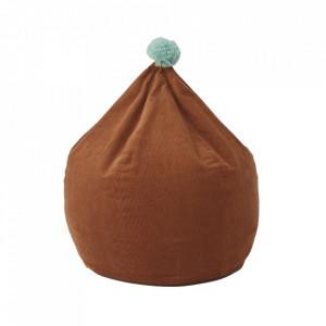 Puf rotund maro caramel din catifea 60 cm Beanbag Oyoy