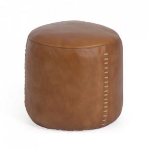 Puf rotund maro din piele de bivol 40 cm Cesia Kave Home