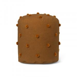 Puf rotund maro/galben mustar din bumbac 39 cm Dot Tufted Ferm Living