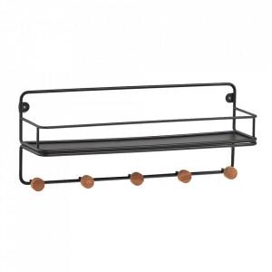 Raft cu cuier negru/maro din fier si lemn 45 cm Aniela Zeller