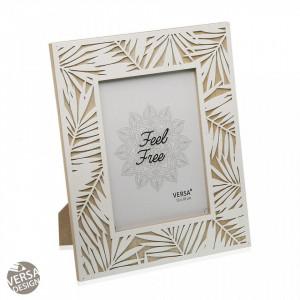 Rama foto alba/maro din lemn si MDF 23,5x27,8 cm Leaf Frame Versa Home