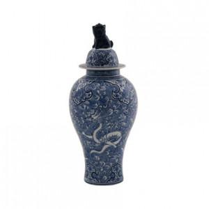 Recipient cu capac alb/albastru din portelan 24x54 cm Dragon Van Roon Living