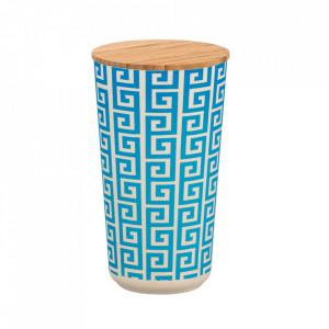 Recipient cu capac albastru/crem din fibre de bambus si lemn 950 ml Edge Wenko