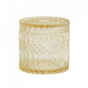 Recipient cu capac galben din sticla 10,5x10,5 cm Welly Nordal
