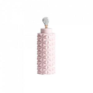 Recipient cu capac roz din ceramica 15x50 cm Saburo Vical Home