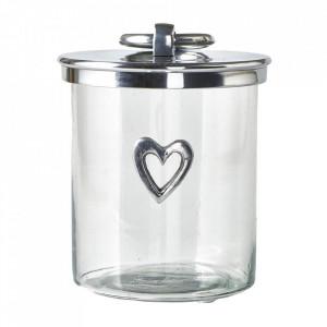 Recipient cu capac transparent/argintiu din sticla si aluminiu 22 cm Kira Riviera Maison