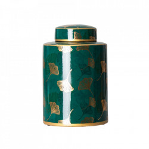 Recipient cu capac verde/auriu din ceramica 17x28 cm Alisa Vical Home