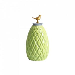 Recipient cu capac verde din ceramica 15x27 cm Baal Vical Home