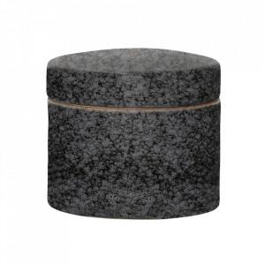 Recipient negru din ceramica cu capac 10x11,5 cm Ellya Bloomingville