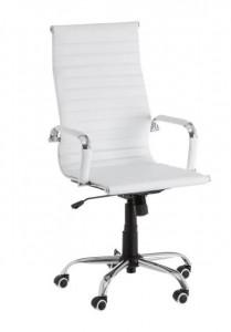 Scaun ajustabil alb din piele ecologica pentru birou Justine White Unimasa