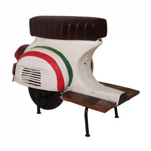 Scaun bar maro/alb din piele si metal Roller Sit Moebel