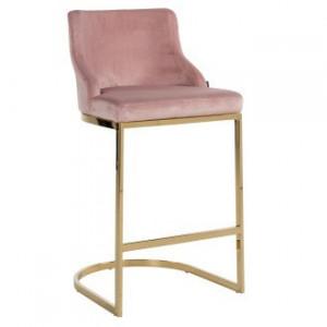 Scaun bar roz/auriu din catifea si inox Bolton Richmond Interiors
