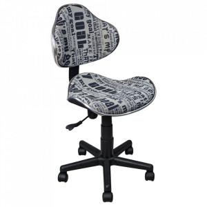 Scaun birou ajustabil alb/negru din textil si metal Q-G2 Signal Meble