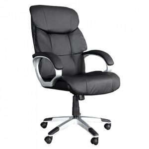 Scaun birou ajustabil negru din piele ecologica Strong Invicta Interior