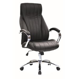 Scaun birou ajustabil negru din piele si metal Oro Signal Meble