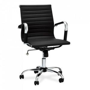 Scaun birou ajustabil negru din poliuretan si metal Designo Furnhouse