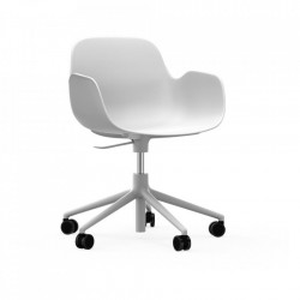 Scaun birou ajustabil rotativ alb din polipropilena Form 5W Lift Normann Copenhagen