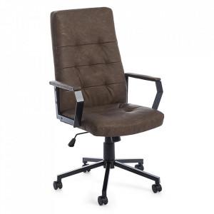 Scaun birou ajustabil rotativ maro/negru din piele si otel Olivier Bizzotto