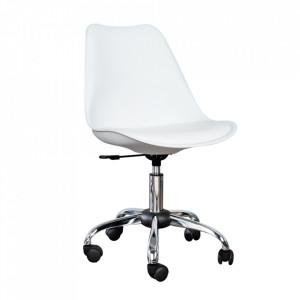 Scaun birou alb ajustabil din piele si plastic Scandinavia Invicta Interior
