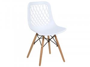 Scaun dining alb din polipropilena si lemn Erna Santiago Pons