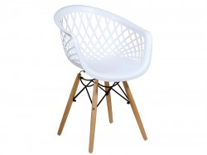 Scaun dining alb din polipropilena si lemn Nera Santiago Pons