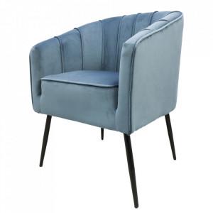 Scaun dining albastru din catifea si metal Chester HSM Collection