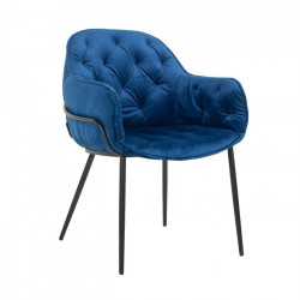 Scaun dining albastru din catifea si metal Nomi Richmond Interiors