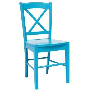 Scaun dining albastru din lemn Cross Signal Meble