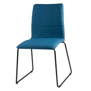 Scaun dining albastru inchis din textil si otel Malina Dark Blue Somcasa