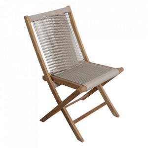 Scaun dining crem din lemn de tec si sfoara pentru exterior Vivalto Raw Materials