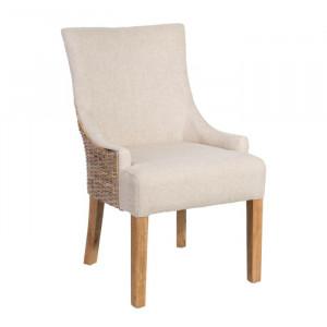 Scaun dining crem/maro din lemn si textil Alan Ixia