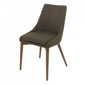 Scaun dining gri inchis/maro din textil si lemn Karo Zago
