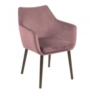 Scaun dining roz prafuit/maro inchis din catifea si lemn Nora Actona Company
