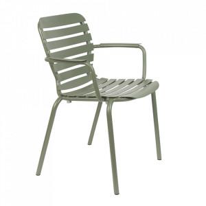Scaun dining verde din aluminiu pentru exterior Vondel Handle Zuiver