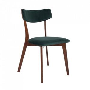 Scaun dining verde/maro din poliester si lemn Tone Custom Form