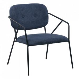 Scaun lounge albastru din poliester si metal Egina Ixia