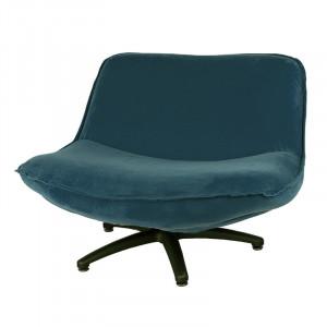 Scaun lounge albastru petrol din poliester si lemn Forli Seven LifeStyle Home Collection