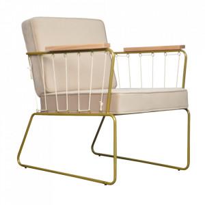 Scaun lounge auriu/crem din lemn si poliester Saxon Opjet Paris