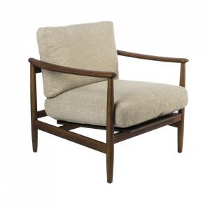 Scaun lounge bej/maro din poliester si lemn de frasin Todd Pols Potten