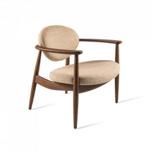 Scaun lounge crem/maro din lemn de frasin si textil Roundy Pols Potten