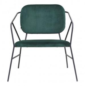 Scaun lounge din catifea verde si metal Klever House Doctor