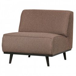 Scaun lounge din poliester si lemn Statement Boucle Nougat Be Pure Home