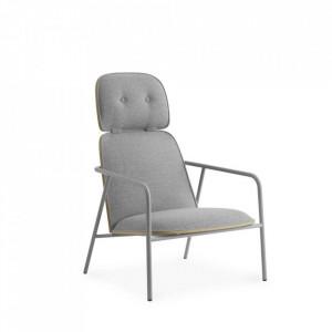 Scaun lounge gri din otel si textil High Pad Normann Copenhagen